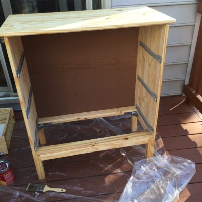 Next Using Another Stain Brush I Applied The Varathane Dark Walnut To Top Of Dresser Sides And Its Legs For Nightstands Did