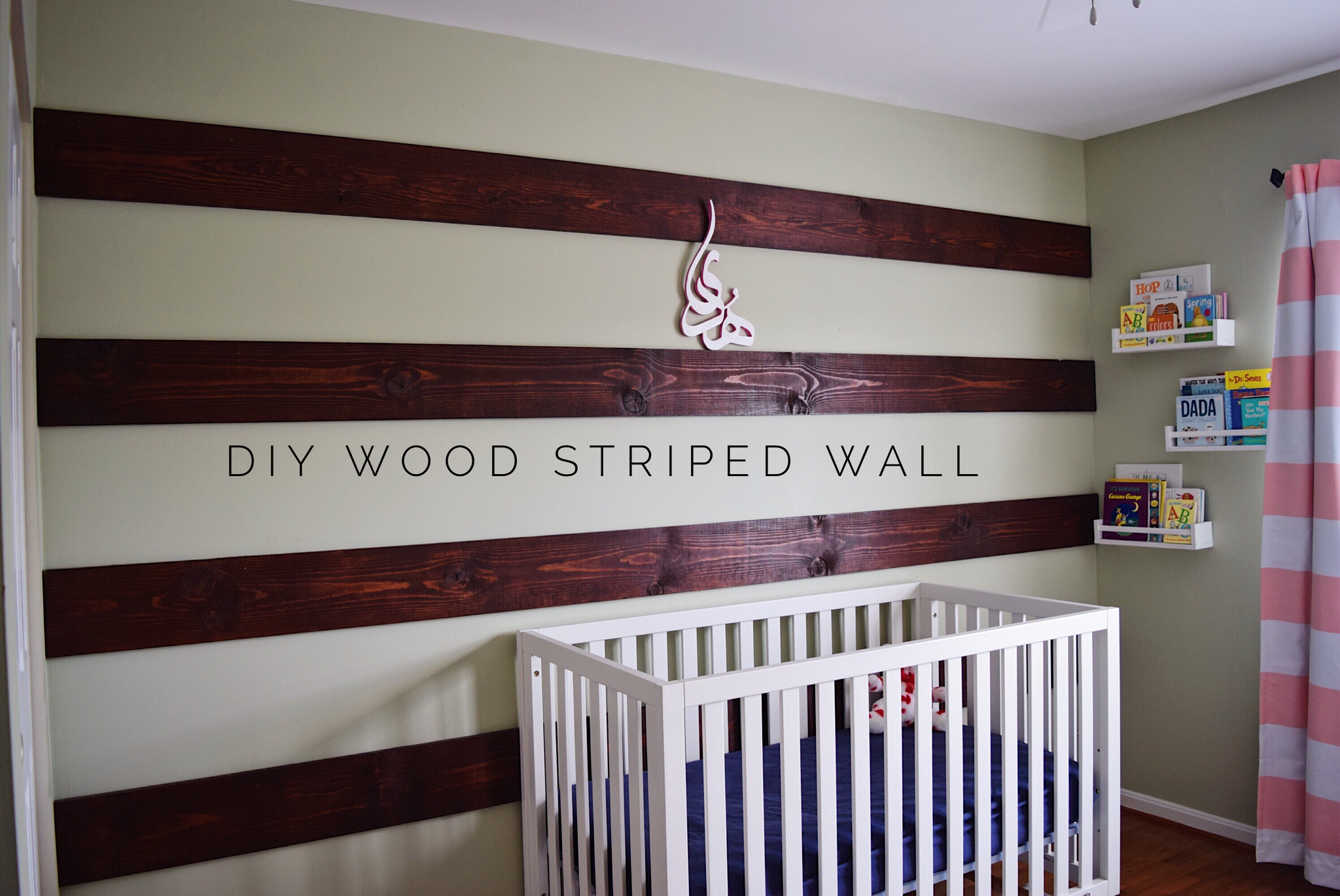 diy wood striped accent wall the hady life. Black Bedroom Furniture Sets. Home Design Ideas